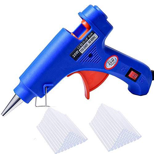Pistola Colla a Caldo con 80 Pezzi Stick di Colla Alta Temperatura Mini Pistola a Colla Grilletto Flessibile per Fai da Te, Progetti e Riparazioni, Uso Domestico, 20W, Blu
