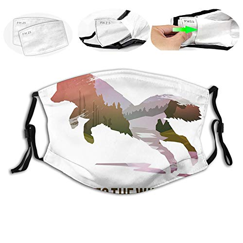 Jumping Fox Silhouette with Woodland Wilderness Hunting Design Survival Theme,Proof Windproof Face Mask,Reusable,Washable Cloth,Face Cover,Cover for Men Women