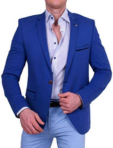 Herren Casual Stoff-Sakko, Leichter Stoff Jackett, Slim-Fit Blazer, Einknopf Jackett, Groe§e 50, blau
