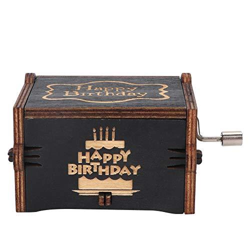 Oumefar Caja Musical de manivela Caja de música clásica Ligera mecánica para decoración de Escritorio(Black Happy Birthday)