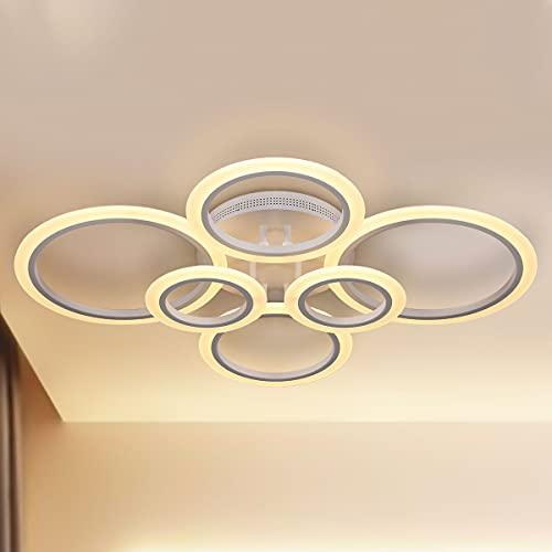 LED Deckenleuchte, 6 Ring 72W Kronleuchter Dimmbar Kreative Acryl Design Lampe Deckenleuchte Beleuchtung Moderne Deckenleuchte für Schlafzimmer Wohnzimmer Büro Studie
