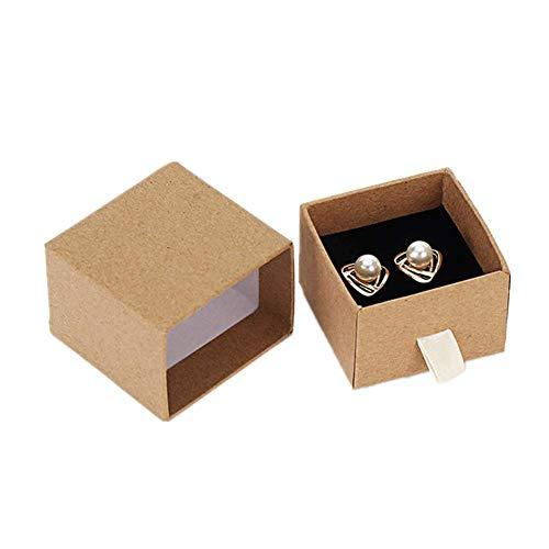 Xinllm cajitas Regalo Caja Anillo Almacenamiento de joyería y bisutería Caja de Regalo con Cuerda de Empuje Cajón Caja de Collar De Caja Stud Box