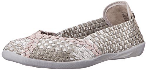 Bernie Mev Women's Braided Catwalk Silver Grey/Rose Gold Flats - 40 M EU / 9.5-10 B(M) US
