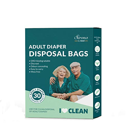 Sirona Premium Adult Diaper Disposal Bags - Pack of 30 | Nature Friendly Odor Sealing Bags for Discreet Disposal of Adult Diapers, Baby Diapers and Feminine Hygiene Products | Travel Friendly Bags