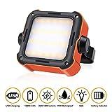efluky LED Arbeitsleuchte Akku Campinglampe LED Tragbar mit 10000mAh Powerbank und 15 Lichtmodi USB...