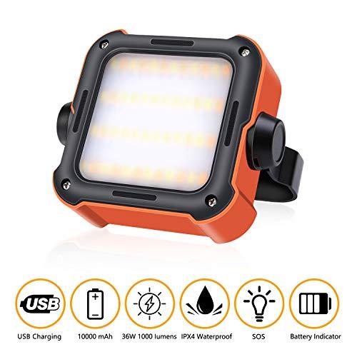 efluky LED Arbeitsleuchte Akku Tragbar Outdoor Campinglampe USB Wiederaufladbare Akku Strahler Notfallleuchtemit 10000mAh Powerbank und 15 Lichtmodi für Stromausfällen, Camping, Werkstatt, Notfall