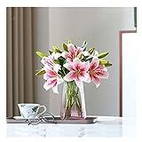 JIEZ Lily Flower Flores Artificiales Flores Falsas Florero de Flores de Seda para Bodas y decoración del hogar Todas Las Ocasiones Planta Artificial (Color: Blanco, Tamaño: 35 cm)