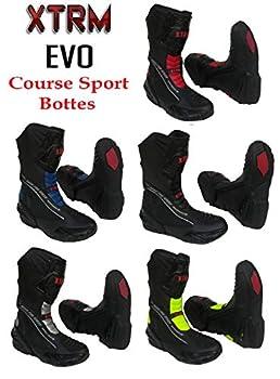 XTRM Bottes de Moto Evo Sports Bottes pour Adultes Nouveau 2019 Hommes et Femmes Scooter Quad Biker Rider sur Route Courses Tourisme Armure Protection Bottes Longues en Cuir (Bleu,EU 42/ UK 8)