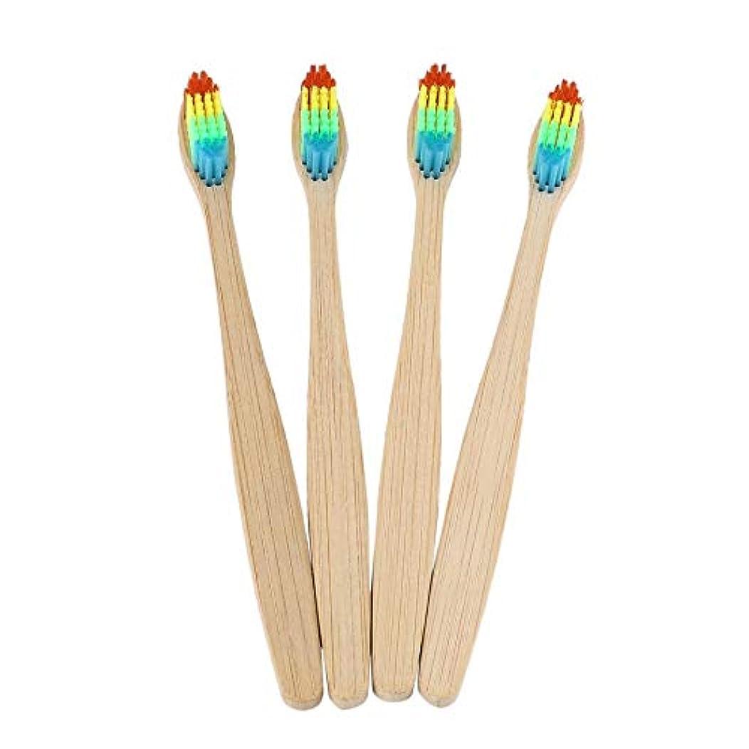 男らしさ応援するバーストカラフルな髪+竹のハンドル歯ブラシ環境木製の虹竹の歯ブラシオーラルケアソフト剛毛ユニセックス - ウッドカラー+カラフル