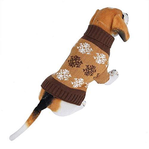 Ubrania dla psów Sweter z dzianiny z nadrukiem w płatki śniegu Zimowe ciepłe dekoracje świąteczne (L-brązowy)