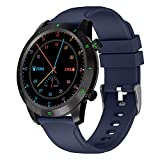 QFSLR Smartwatch frecuencia cardíaca presión Arterial monitoreo del sueño Salud Reloj Deportivo podómetro IP68 rastreador de Actividad a Prueba de Agua Reloj Inteligente Hombres y Mujeres,Azul