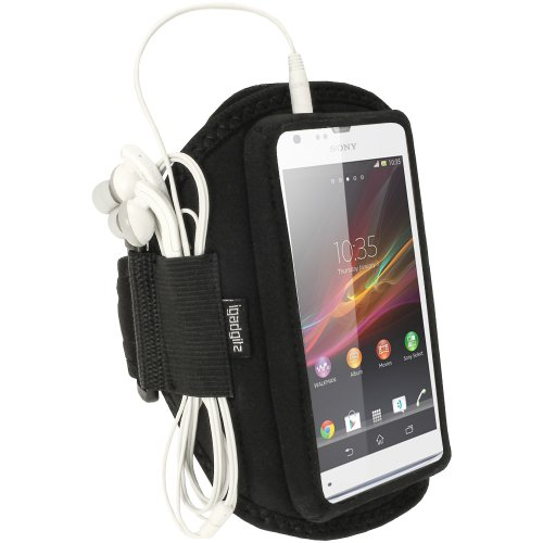 iGadgitz U2501Elastischer Arm Armband Sport Running Fitness Kompatibel mit Sony Xperia SP- Schwarz