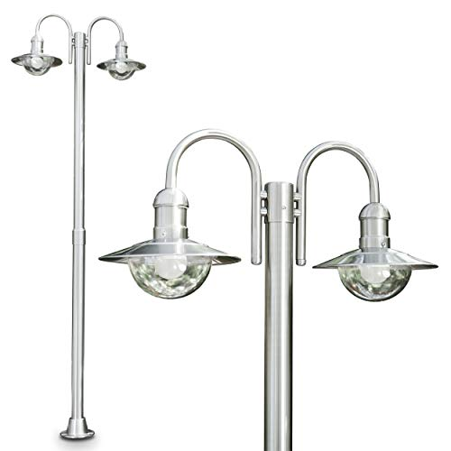 Außenleuchte Elima, Kandelaber aus Edelstahl in modernem Design, mit Lampenschirmen aus Glas, 2-armige Wegeleuchte 200 cm, Gartenlampe mit E27-Fassung, je max. 60 Watt, IP44