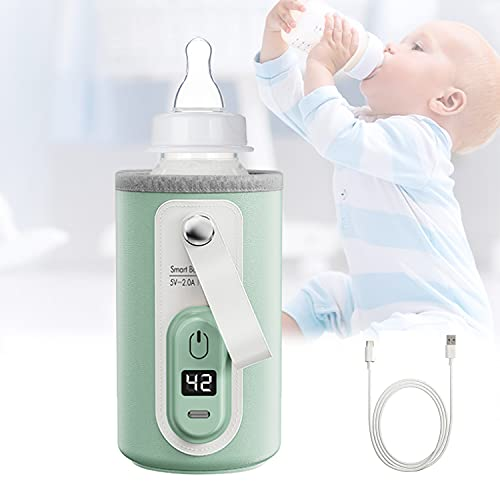 SOPEWOD Portable Bottle Warmer, USB Bottle Warmer for Breastmilk and Formula with LCD Display, Fast and Accurate Heating of Baby Bottle Warmer for Car and Travel(Green)