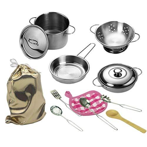 Batop Juego de utensilios de cocina para niños, 12 piezas, juego de utensilios de cocina, juego de cocina para niños