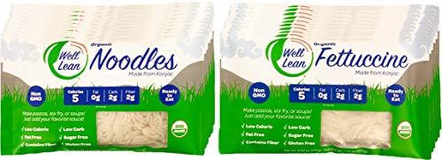 USDA Organic WELL LEAN Variety (20 Pack) - Premium Shirataki Konjac Pasta, 100 % Plant-Based, Keto Friendly, Non GMO and Ready to Eat - Includes 10 Noodles & 10 Fettuccine