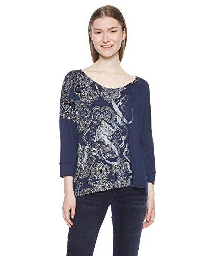 Desigual Damen TS_Nisa T-Shirt, Blau (Marino 5001), Large