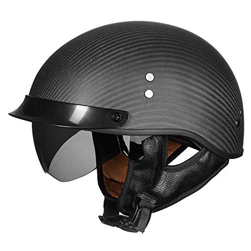 VCOROS Carbon Fiber Motorrad Halbhelme Open Face Retro Cruiser Scooter Helm Mit Innerer Sonnenblende (Flat Black,XXL)