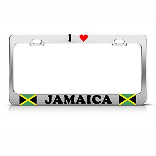 I Love Heart Jamaica Chrome Steel Heavy Duty Metal License Plate Frame Tag Perfect for Men Women Car garadge Decor