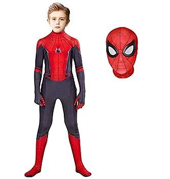 Superhero Costume Bodysuit for Kids Spandex Zentai Halloween Cosplay Jumpsuit 3D Style  Red Kids-M  Height  43-46Inch