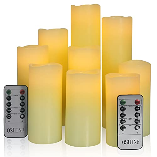 """OSHINE Flameless Candles LED Lights: Pack of 9 Battery Powered Pillar with Remote and Timer Set D2.2""""H4""""5""""6""""7""""8""""9""""Wax and Flickering Candle for Window,Fireplace,Gift,Party,Décor"""