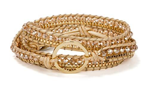 SPUNKYsoul 3 (Triple) Wrap Bead Bracelet for Women Collection (Gold Circle)