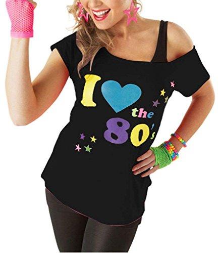 Classy Fashion Classy Fashion Frauen ich Liebe die 80er Jahre T-Shirt Top Damen ich Liebe 80er Jahre Kostüm Hen Night Stag Do Parteien Tees Top 80er Party Kleider (Small, Black)