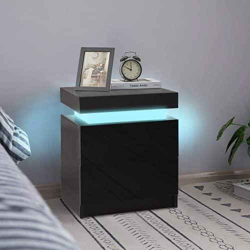 KJ - Mesita de noche con iluminación LED, mueble de almacenamiento, mesa de noche con 2 cajones, 1 tapa abatible, alto brillo para mesita de noche (1 unidad, negro)