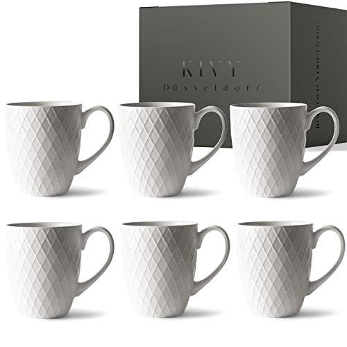 KIVY® Kaffeetassen 6er Set - Kaffeetassen Set - Tassen Set - Kaffee Tassen groß - Kaffeetasse mit großem Henkel - Kaffeebecher Set Porzellan - Tasse Groß Weiß -Tassen-Set Tee - Teetassen Set