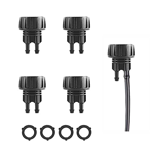 1/4 Inch Drip Irrigation Tube to 3/4 Inch Faucet/Garden Hose Adapter 4PCS Water Drip Hose Adapter Connectors and Fittings with Washers (2 Barbs)
