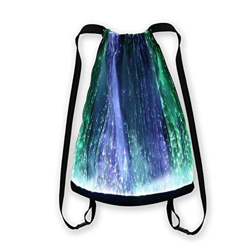 LED-beleuchteter Rucksack für Rave, Musik, Festival, Party, Weihnachten, Halloween, Unisex, blinkender Kordelzug, mehrfarbig, mobile App-Steuerung