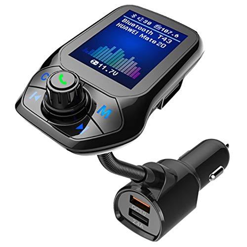 CareMont Transmisor FM 5.0 Reproductor de MP3 USB para AutomóVil Kit de Manos Libres InaláMbrico para AutomóVil con QC3.0 Accesorios para AutomóVil de Carga RáPida para AutomóVil