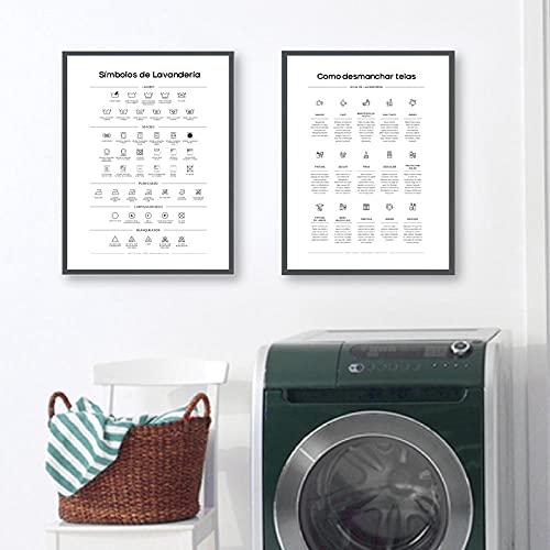 Citas de lavandería en español Cuadros de pared Símbolos Guía de manchas Impresiones artísticas en lienzo Póster Quitamanchas Decoración moderna para sala de lavandería-40x60cmx2Pcs-Sin marco