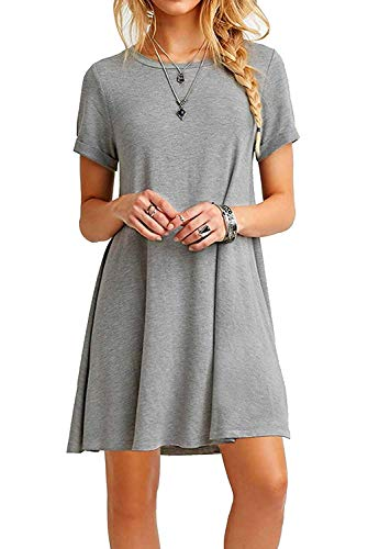 FALARY Sommerkleid Damen Tunika Shirtkleider Freizeitkleid Tshirt Kleid Kurzarm Lose Kleider Grau L