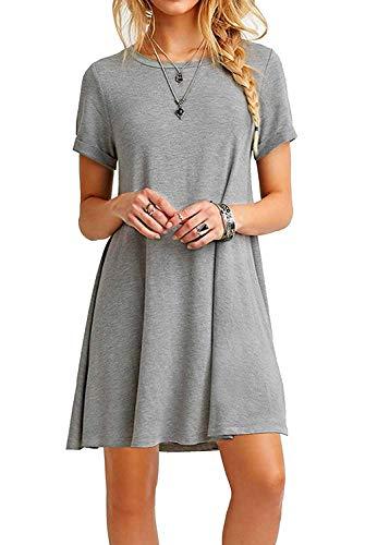 FALARY Sommerkleid Damen Tunika Shirtkleider Freizeitkleid Tshirt Kleid Kurzarm Lose Kleider Grau M