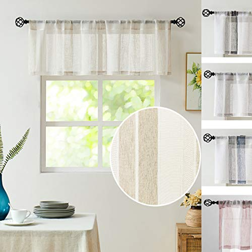 Central Park Beige and White Kitchen Window Curtain Valance Vertical Stripe Sheer Boucle Linen Window Curtain, Living Room Decorative Rod Pocket (54