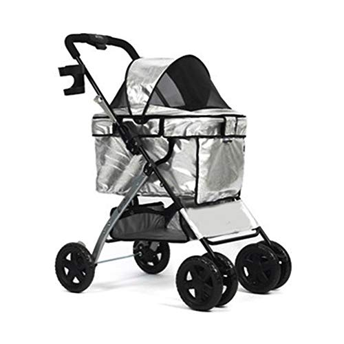 YumEIGE hondenwagen Pet Stroller Oxford doek + PP + Eva-schuim wiel, hondenkinderwagen, universeel, compact, licht, opvouwbaar, kat kinderwagen, met anti-off-haken, belastbaarheid 13 kg