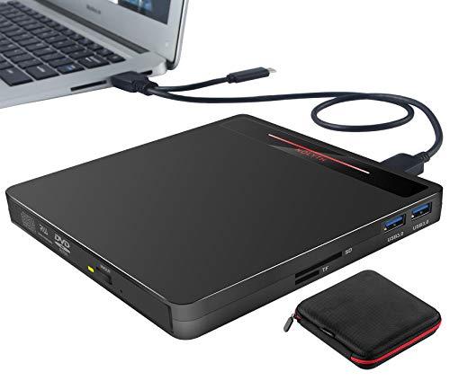 External CD DVD Drive,USB 3.0 USB-C Portable CD DVD + -RW ROM Burner Player Rewriter with SD TF Card Reader,Disk Drive for Laptop PC Mac MacBook Air Pro imac Windows10 8 7