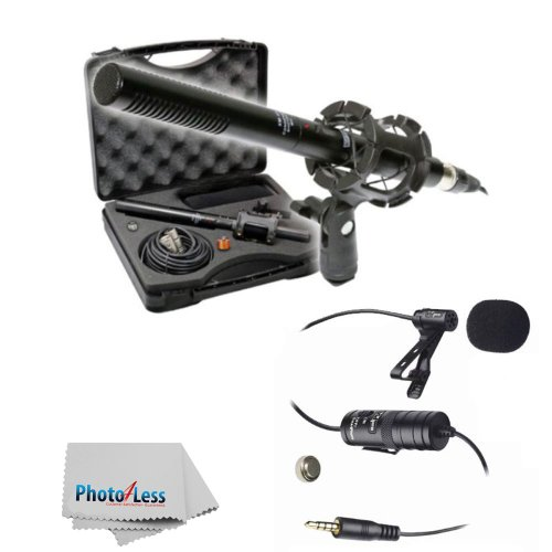 """New Vidpro XM-55 15-Piece 11"""" Condenser Shotgun Video & Broadcast Microphone Kit with Vidpro XM-L Wired Lavalier Condenser Microphone 20' Audio Cable for Canon Nikon Sony DSLR Camera Camcorders"""