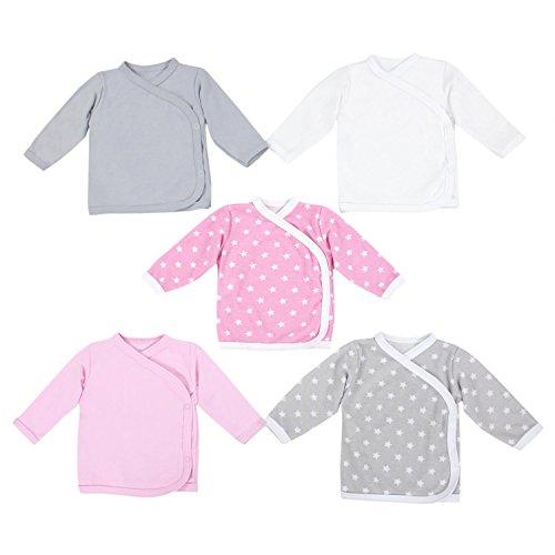 TupTam Unisex Baby Langarm Wickelshirt 5er Set, Farbe: Mädchen 3, Größe: 74
