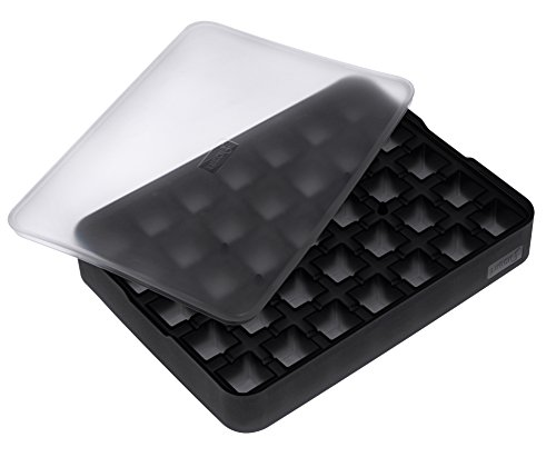 Lurch 240700 Moule à glace en silicone 100 % platine sans BPA avec couvercle pour 12 glaçons (2 x 2 cm) Noir
