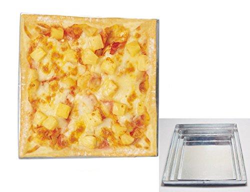 Poêle à pizza forme carrée 3 cm cuisson au four profond Lot de 3 Taille 22,9 cm 27,9 cm & 33 cm à tarte Plat à Four