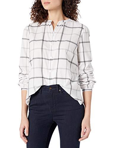 Goodthreads Lightweight Cotton Sleeve-Interest Shirt Button-Down-Shirts, White Windowpane, US (EU XS-S)
