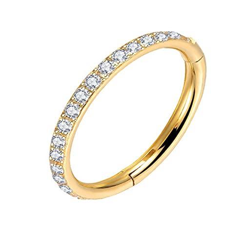 YS Circonio Piedra Anillo de Nariz Temperamento Señoras Aleación Pendientes Joyas Cuerpo Pendientes de perforación brillantes - Oro 1.2 * 10Mm