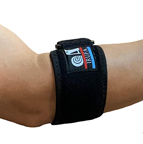 IRUFA,TEN-OS-12, Spacer Fabric Adjustable Tennis Elbow Brace Strap Support for Tennis & Golfer's Elbow Forearm Tendonitis Pain Relief Arthritis, One Size Fit Most, One PCS