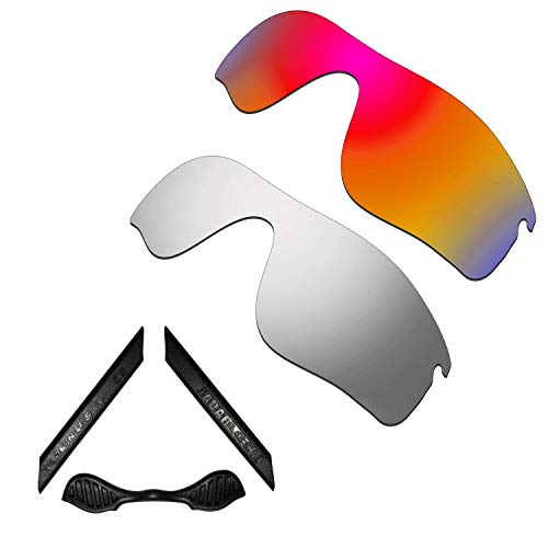 HKUCO For Oakley Radarlock Path Red/Silver Polarized Replacement Lenses And Black Earsocks Rubber Kit