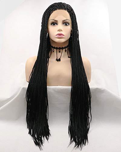 SereneWig Dames Zwarte Pruik Cosplay Festival Party Drag Koningin Afro Amerika Zwarte Doos Gevlochten Pruiken voor Vrouwen Synthetische Kant Voor Pruiken Lange Vlechten Haar