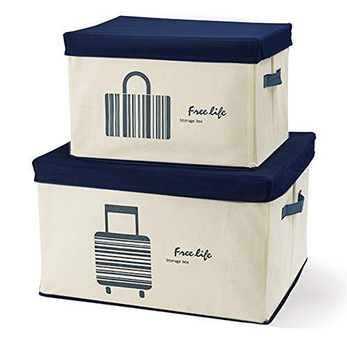 SXDHOCDZ Caja de almacenamiento plegable no tejida para acabado de armario, sótano, caja de almacenamiento de juguetes, juego de 2 (color: A)