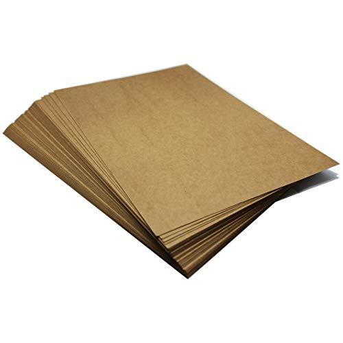 Threeet 50 Blatt Kraftpapier, DIN A4, bedruckbar, Retro, Vintage, Naturpapier, Braune Kraft Card, Kraftkarton 250 g Qualität