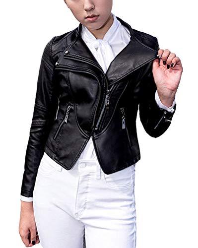 Classic Pink Motorrad Pu-Lederjacke, Damen Schlank Kleine Jacke Weibliche Langärmelige Jacke Punk Mantel Schwarz S